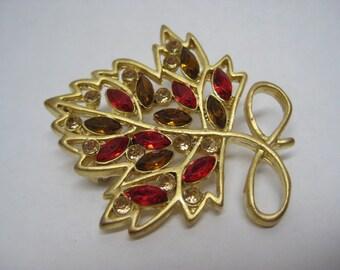 Leaf Red Amber Rhinestone Brooch Gold Vintage Pin