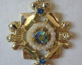 Blue Gold Aurora Pearl Necklace Rhinestone Vintage Pendant