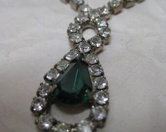 Teardrop Green Rhinestone Gold Necklace Clear Vintage