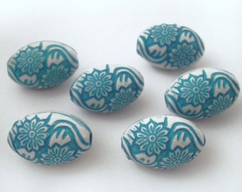 16x10mm Medium Turquoise White etched floral acrylic bead - 8pcs
