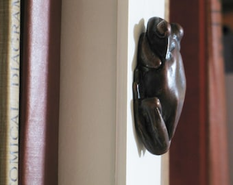 Wall hanging bottle opener: Tree Frog Bronze Sculpture,  classic French brown patina