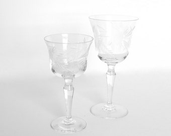 Set of 2 Vintage Mid Century Clear Etched Glass Stemware
