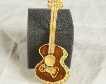 Vintage Bob Mackie Rhinestone Guitar Pin Brooch