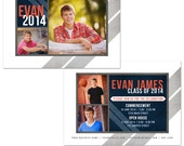Modern High School Senior Graduation Announcement Card Template - Mark - Photoshop Templates for Photographers - CS2006-2 Instant Download