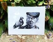 """Man & Pigeon Conversation Print 8x10"""""""