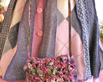 Miss Fancy Pants – A Dressy Small Shoulder Bag in Batik Fabric with Crocheted Flap