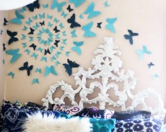 3D Butterfly Wall Art Decal Set of 80 in Blue, Butterflies, Bedroom, Home Decor