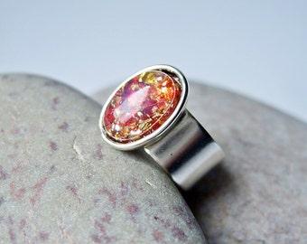 Fire Maiden  - Adjustable Vintage Glass Ring