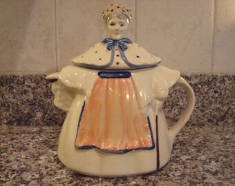Sale.....GREAT unique vintage woman teapot- USA