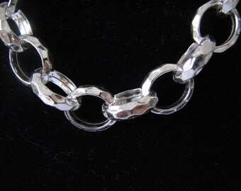 17 inch Hammered Sterling Silver Rolo Chain Necklace 14X12mm Large Links