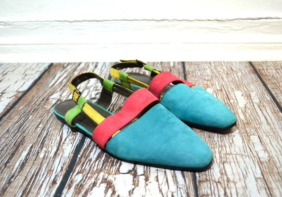 Strappy sandals 8.5 -  Flat Sandals - colorful slingbacks - Shoes size 8.5