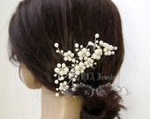 Wedding Hair Accessory,Gold Hair comb Ivory Pearls Floral Vine Silver Bridal hair Comb White Swarovski Pearls Rhinestone Brides  H018-