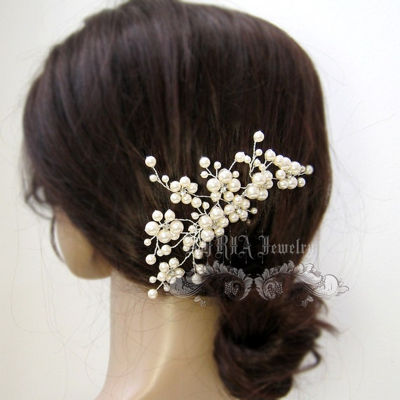 Wedding Hair Accessory,Gold Hair comb Bridal Hair Comb Swarovski Ivory Pearls Wedding Clips Large Bridal Hair Pieces  H018-