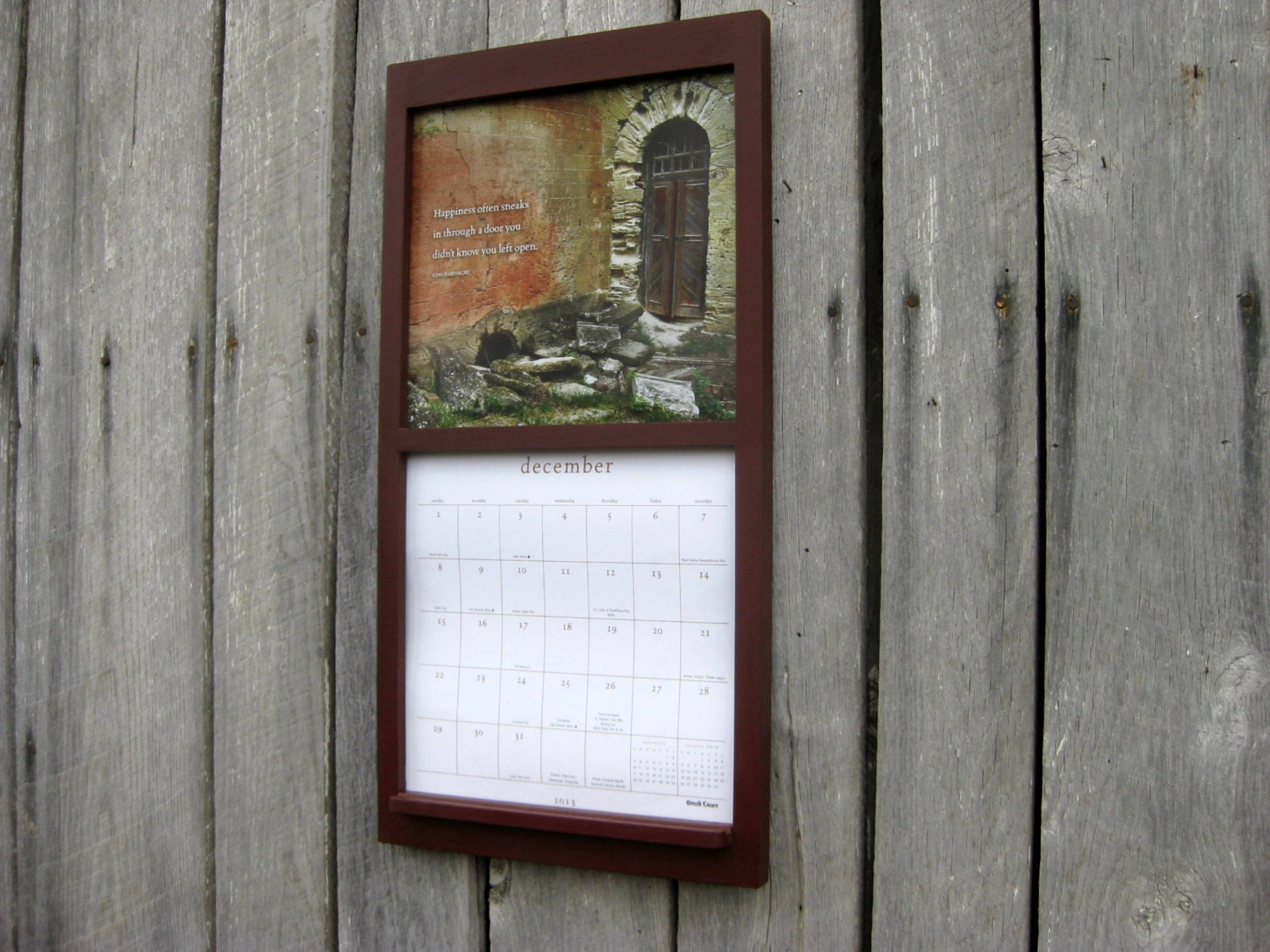 12 x 24 calendar wood frame holder in barn brown. Black Bedroom Furniture Sets. Home Design Ideas