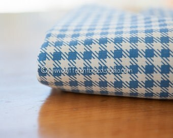 Classic Blue Plaid- Vintage Fabric 36 in wide 50s Checked Plaid