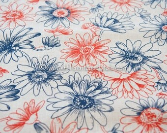Blooming Daisies- Vintage Fabric  60s 70s New Old Stock Classic Navy and Red