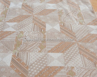 Paisley Cheater Print - Vintage Fabric Cheater Quilt Look 70s Brown