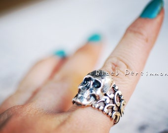Flaco - SOLDERED Skull Pirate Gothic VIctorian Filigree Ring No.2  - Made in USA Brass