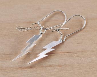 Lightning Bolt Earrings - Solid Sterling Silver Flat Pendant Charm - Insurance Included