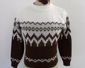 vintage 1980s ski sweater tribal - geometric pull over - Medium - M