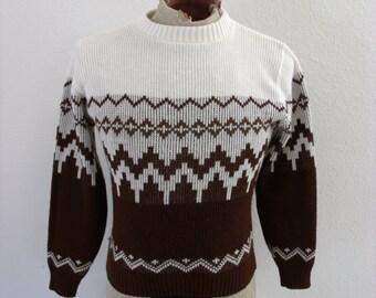 vintage 1980s ski sweater tribal - geometric pull over - Medium - M