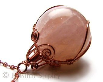 Rose Quartz Sphere Pendant Necklace -Natural Pink Gemstone Crystal Ball Wire-Wrapped with Nickel Free Copper, Healing Hypoallergenic Jewelry