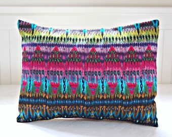 REDUCED TO CLEAR decorative pillow cover aztec cerise lime turquoise purple lumbar cushion cover 12 x 16 inch