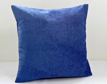 blue cushion cover, accent dark blue velvet chenille decorative pillow cover 16 inch