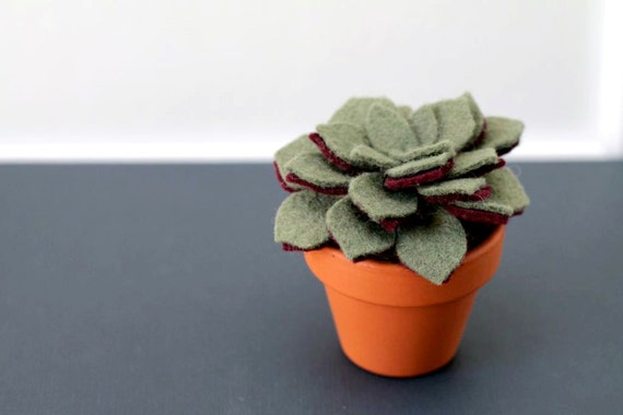 Small Felt Succulent. Artificial Potted Plant Sculpture. Fake Plant. Mother's Day Gift. Urban Home Office or Apartment Decor