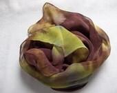 Acid Green & Burnt Umber Silk Chiffon Scarf