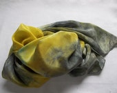 Gold Grey & Sage Green Silk Scarf
