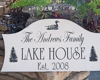 Custom LAKE House Signs CABIN Signs or BEACH Home signs Personalized signs 28x14