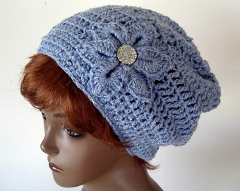 Slouch Hat Crochet Womans Pastel Light Blue Sequin Sparkle Yarn with Flower