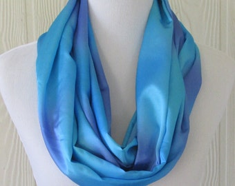 Silky Blue and Purple Infinity Scarf, Women's Fashion Scarf, Circle Scarf, Loop Scarf, Ready to Ship, Eclectasie