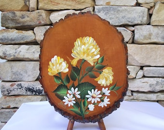 Hand Painted Basswood Plaque with Yellow Chrysanthemums