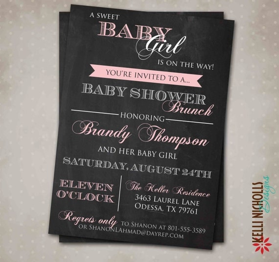 Chalkboard Baby Girl Shower Invitation, Baby Girl Shower Invite