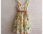 Orange poppies on white , a tea dress