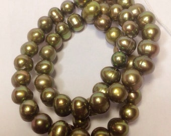 "Freshwater Pearl round potato pearl olive green pearl--6-7mm Full Strand15"" strand 65pc  #RS2032"