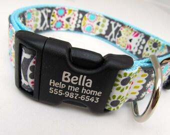"Laser engraved pet collar-- ""Dia de los Muertos"" with adjustable side-release buckle 1"" wide pet identification collar"
