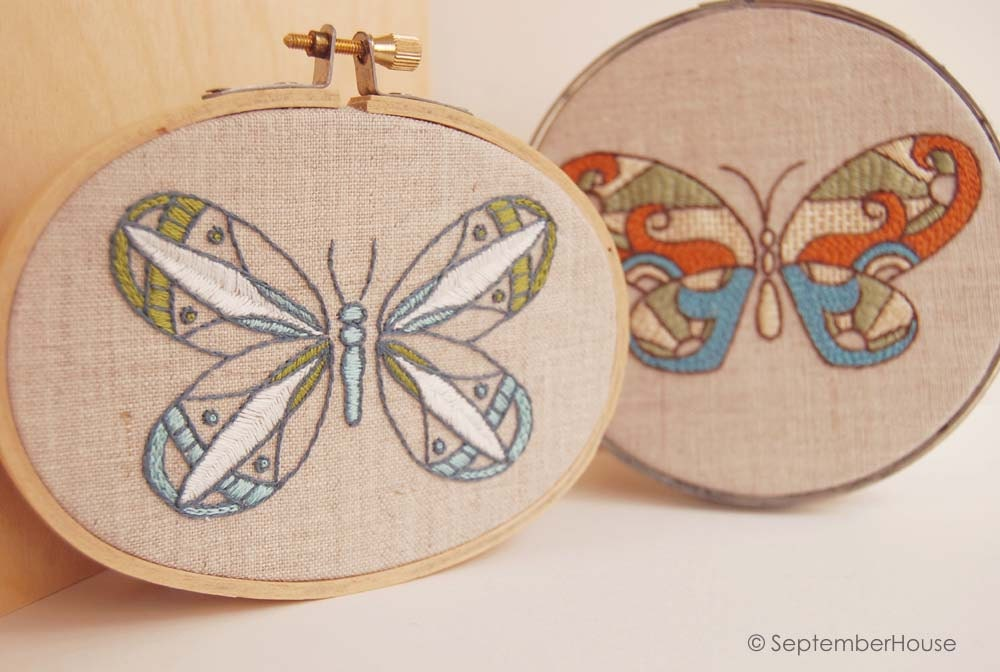 Modern hand embroidery patterns kaleidoscope butterfly