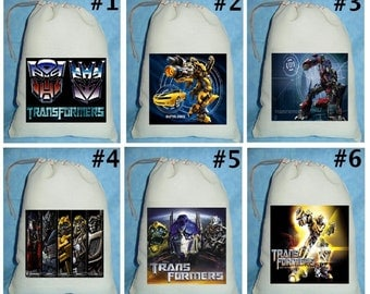12 Transformers Bumble Bee Optimus Prime Birthday Party Favor Candy Loot Treat Drawstring Bags