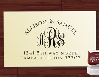 Monogram Address Stamp, Inexpensive Wedding Favor, Custom Personalized Return Address Rubber Stamp - 1118 cute wedding gift