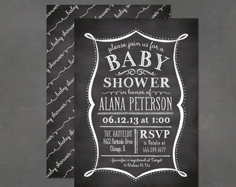 Printable Baby Shower Invitation - Chalkboard Invitation, DIY print at home invite template
