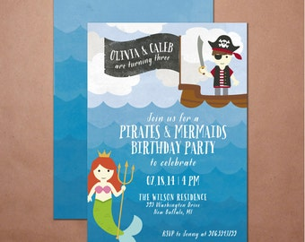 Pirates and Mermaids Party Invite - DIY printable party invite, Kids Birthday Party