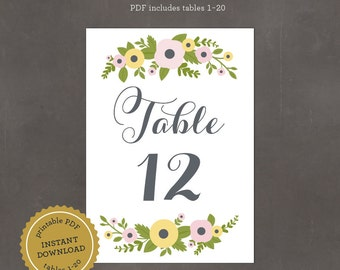 INSTANT DOWNLOAD Printable Spring Floral Table Numbers, includes tables 1-20