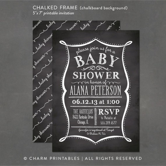 Items Similar To Printable Baby Shower Invitation  Chalkboard