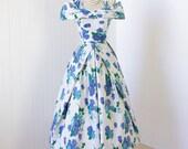 vintage 1950's dress ...beautiful BLUE FLORAL SCULPTURAL double off shoulder full skirt party dress