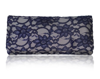 Grey and navy lace Astrid clutch purse