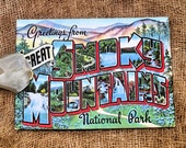 Greetings From Great Smoky Mountains Large Letter Souvenir Postcard Gift or Scrapbook Tags or Magnet #G 4