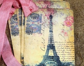 French Paris Eiffel Tower Postcard Gift or Scrapbook Tags or Magnet #105